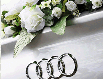 Audi wedding car with flowers