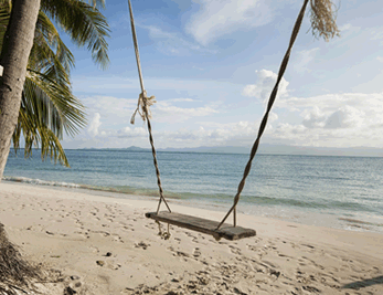 idyllic beach setting with swing