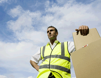 courier delivery driver in high viz